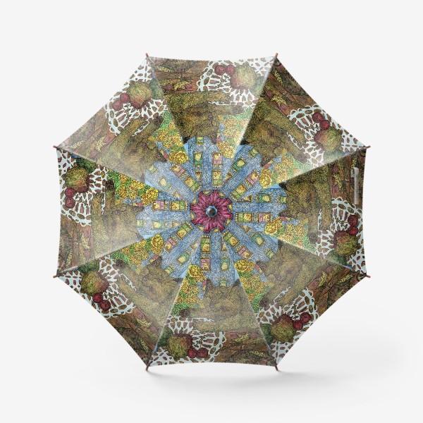Зонт «Кот и весенние цветы»