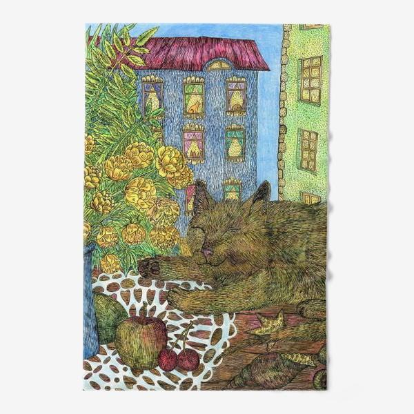 Полотенце «Кот и весенние цветы»