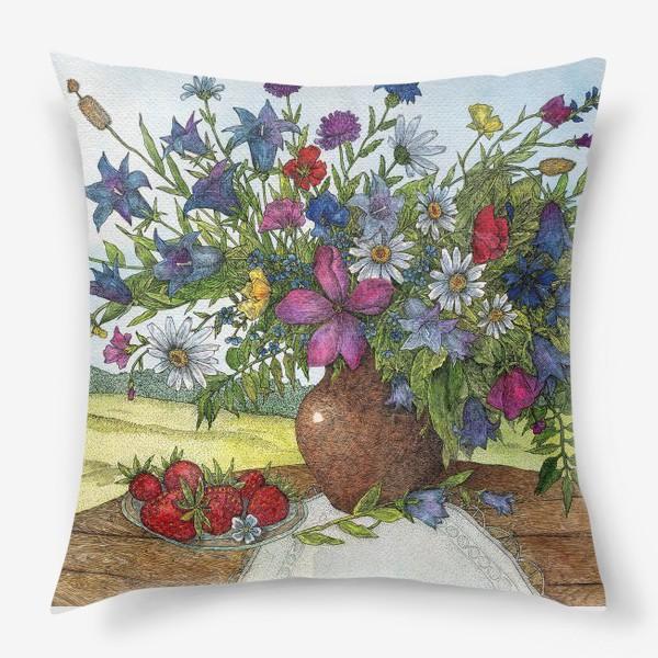 Подушка «Большой букет полевых цветов»