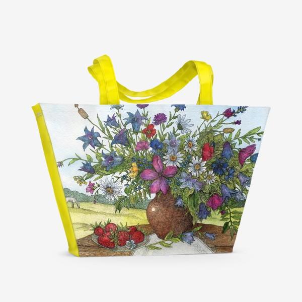Пляжная сумка «Большой букет полевых цветов»