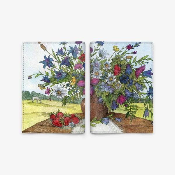 Обложка для паспорта «Большой букет полевых цветов»
