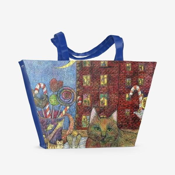 Пляжная сумка «Кот и Новый год»