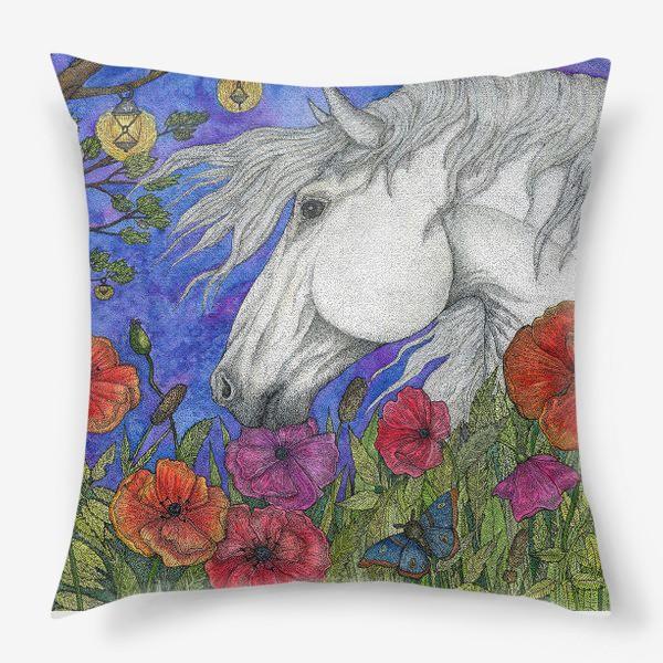 Подушка «Белая лошадь и маки»