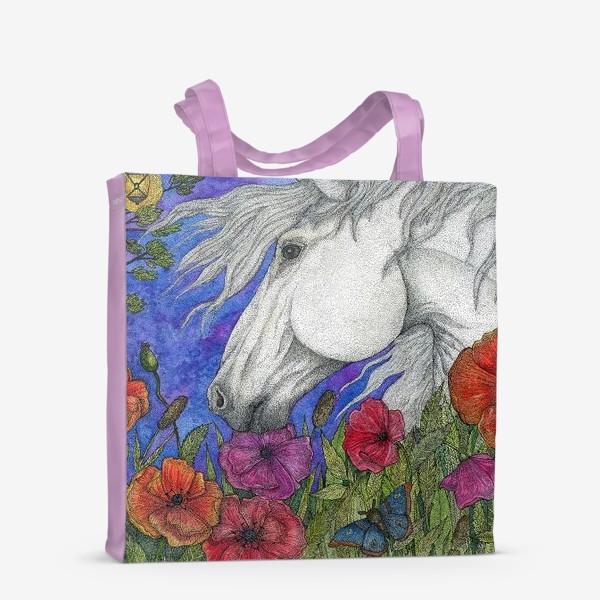 Сумка-шоппер «Белая лошадь и маки»