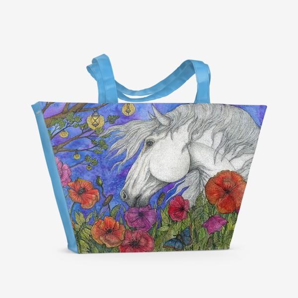 Пляжная сумка «Белая лошадь и маки»