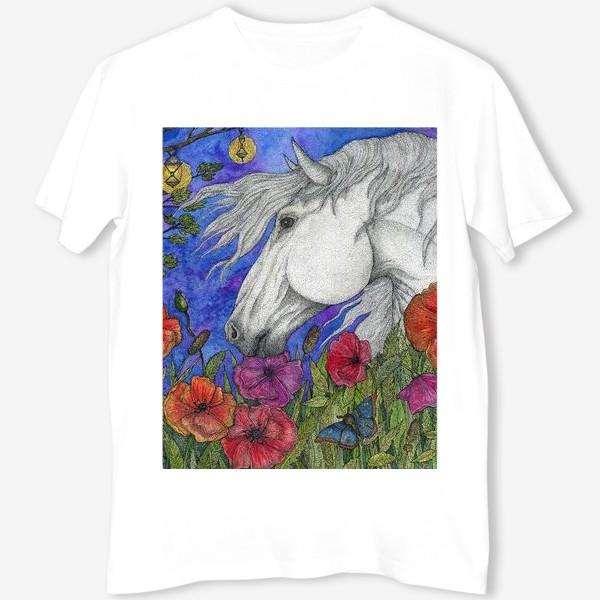 Футболка «Белая лошадь и маки»