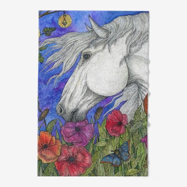 Полотенце «Белая лошадь и маки»