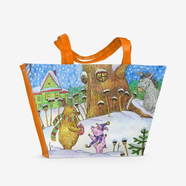 Пляжная сумка «Винни-Пух, Пяточок и ослик Иа-иа »