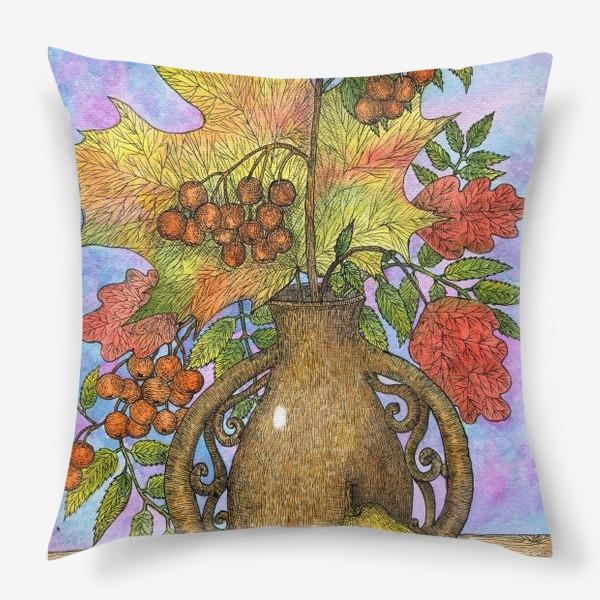 Подушка «Осенний букет из листьев и ягод»