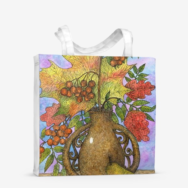 Сумка-шоппер «Осенний букет из листьев и ягод»