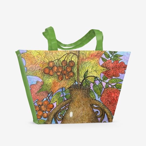 Пляжная сумка «Осенний букет из листьев и ягод»