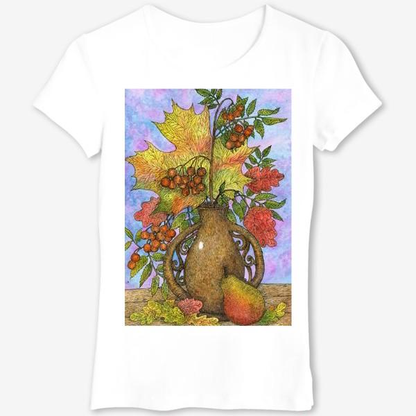 Футболка «Осенний букет из листьев и ягод»