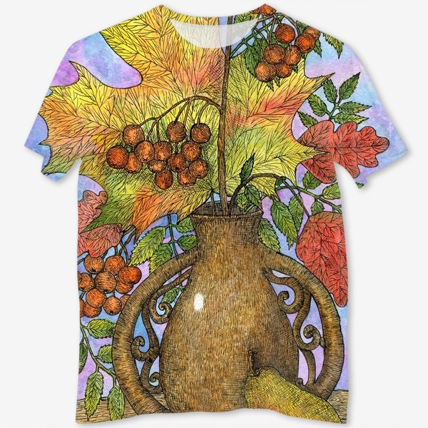 Футболка с полной запечаткой «Осенний букет из листьев и ягод»