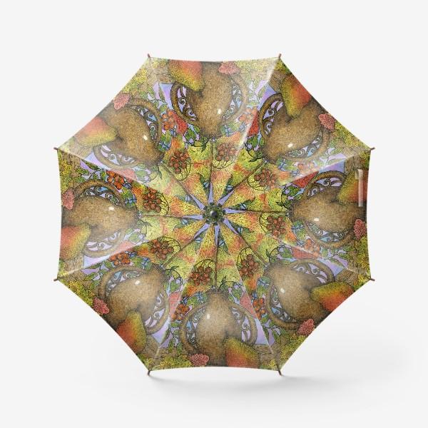 Зонт «Осенний букет из листьев и ягод»