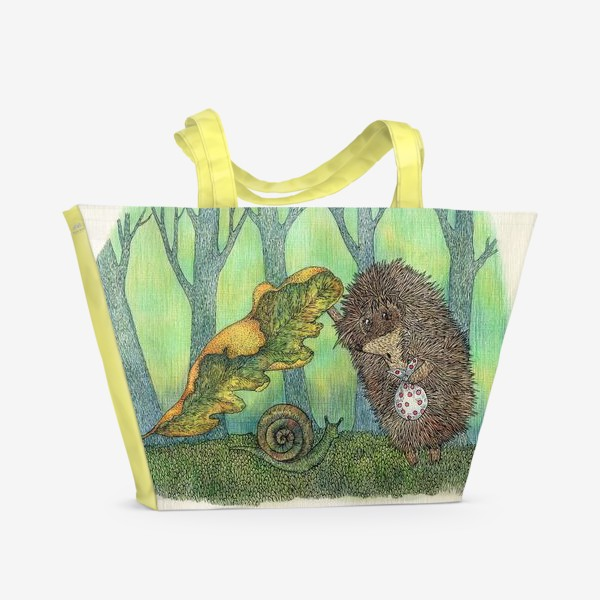 Пляжная сумка «Ежик и улитка»