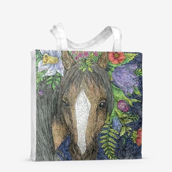 Сумка-шоппер «Лошадь и цветы»