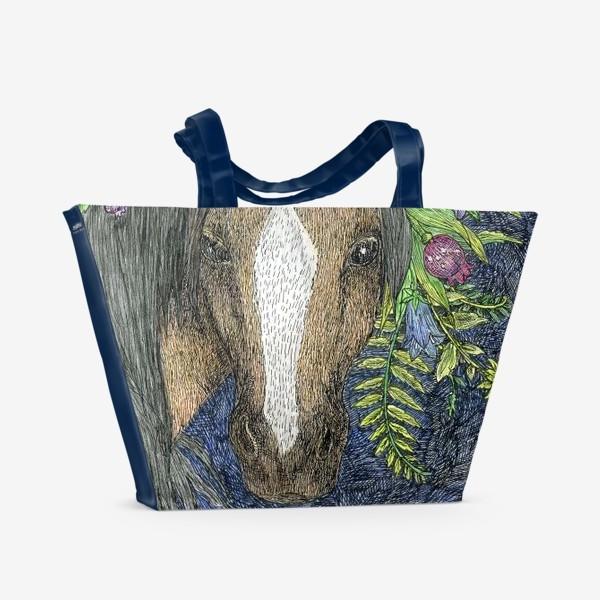 Пляжная сумка «Лошадь и цветы»