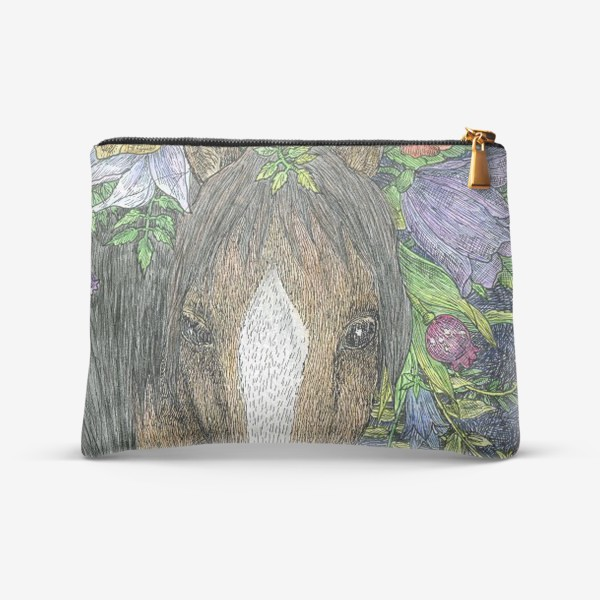 Косметичка «Лошадь и цветы»