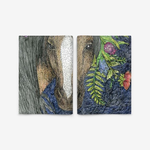 Обложка для паспорта «Лошадь и цветы»