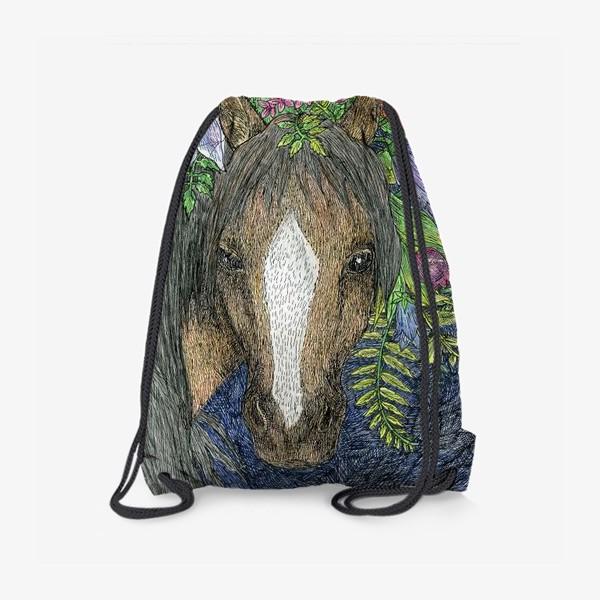Рюкзак «Лошадь и цветы»