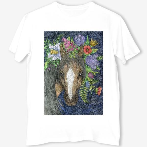 Футболка «Лошадь и цветы»