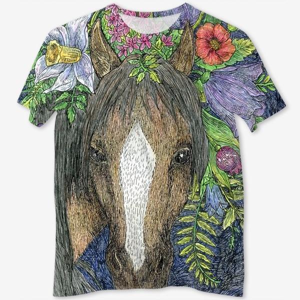 Футболка с полной запечаткой «Лошадь и цветы»