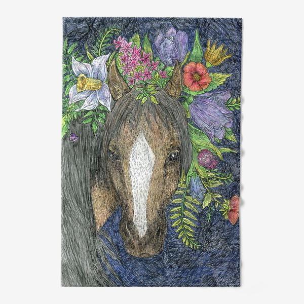 Полотенце «Лошадь и цветы»