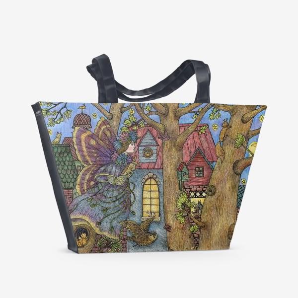 Пляжная сумка «Фея и плюшевый кролик»