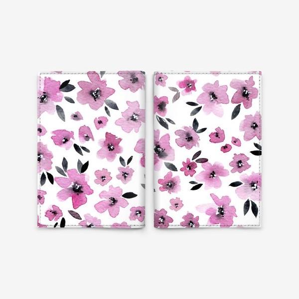 Обложка для паспорта «Розовые цветы»