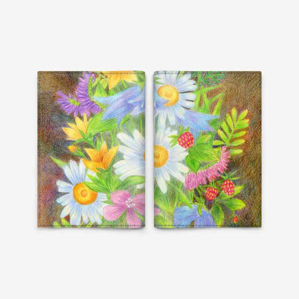 Обложка для паспорта «Букет полевых цветов »