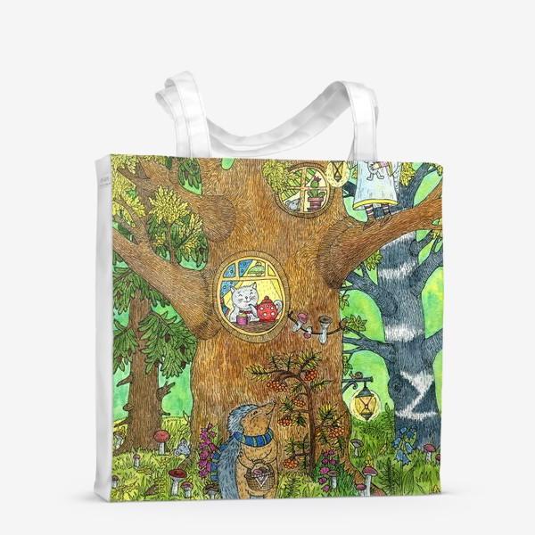 Сумка-шоппер «Маленький ежик в волшебном лесу»