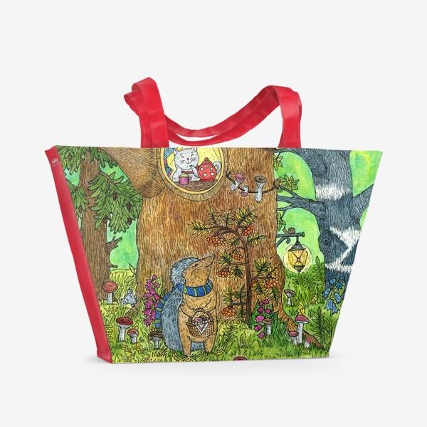 Пляжная сумка «Маленький ежик в волшебном лесу»