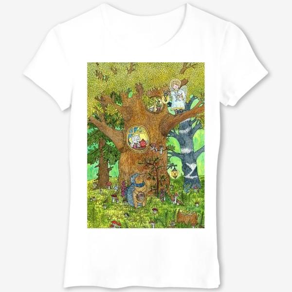 Футболка «Маленький ежик в волшебном лесу»
