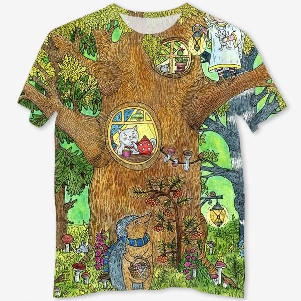Футболка с полной запечаткой «Маленький ежик в волшебном лесу»
