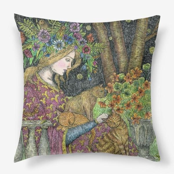 Подушка «Лесная нимфа и котики»