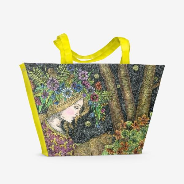 Пляжная сумка «Лесная нимфа и котики»