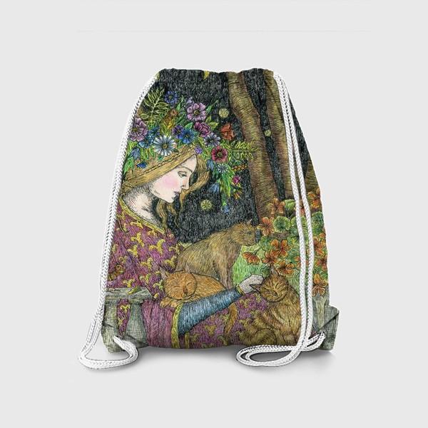 Рюкзак «Лесная нимфа и котики»