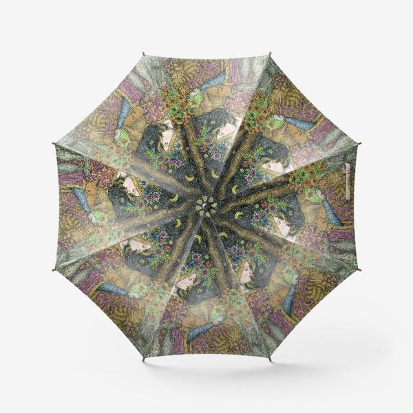 Зонт «Лесная нимфа и котики»