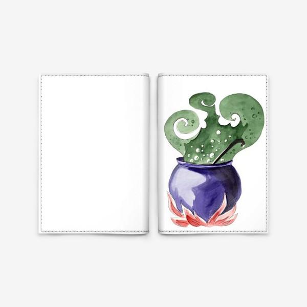 Обложка для паспорта «Котел с магическим зельем на Хэллоуин »
