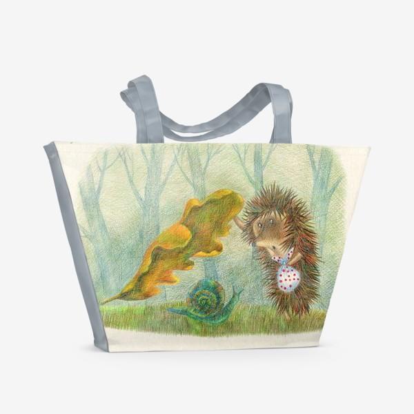 Пляжная сумка «Ежик в тумане»