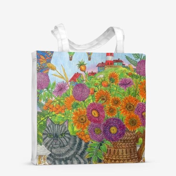 Сумка-шоппер «Серый кот и букет цветов»