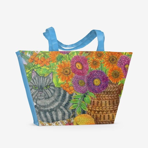 Пляжная сумка «Серый кот и букет цветов»
