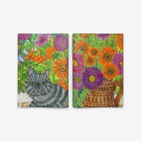 Обложка для паспорта «Серый кот и букет цветов»