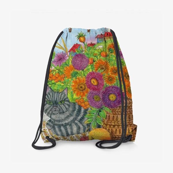 Рюкзак «Серый кот и букет цветов»