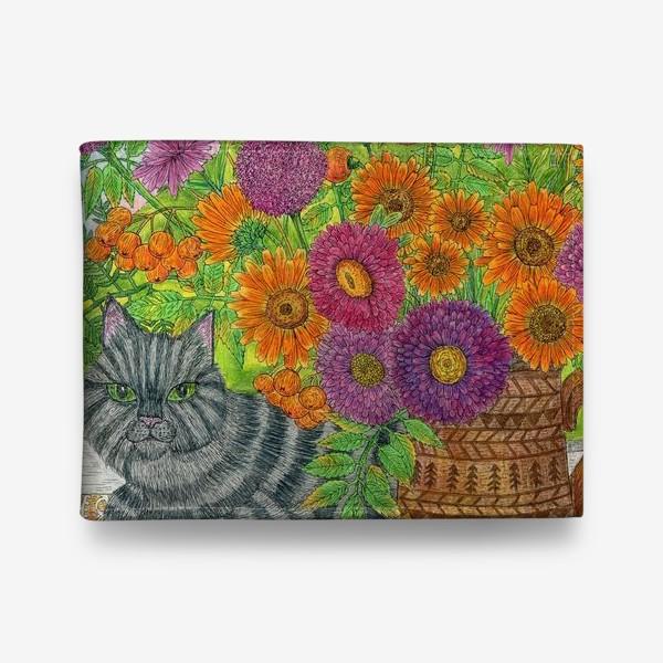 Кошелек «Серый кот и букет цветов»