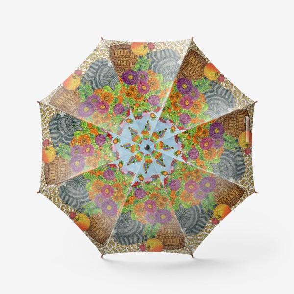 Зонт «Серый кот и букет цветов»