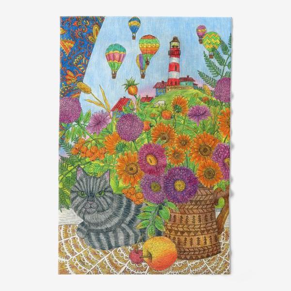 Полотенце «Серый кот и букет цветов»