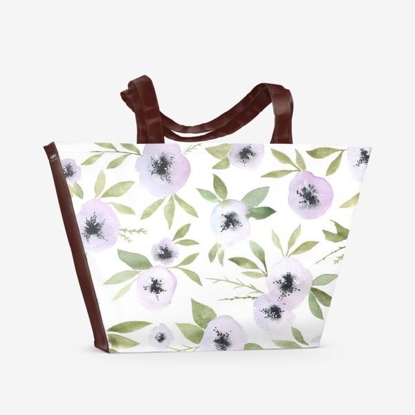 Пляжная сумка «Белые цветы»