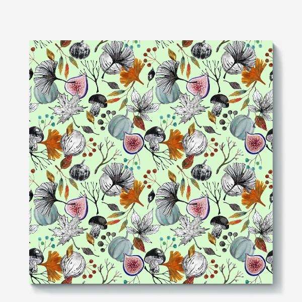 Холст «Тыквы, инжир и осенние листья. Тушь и акварель.»