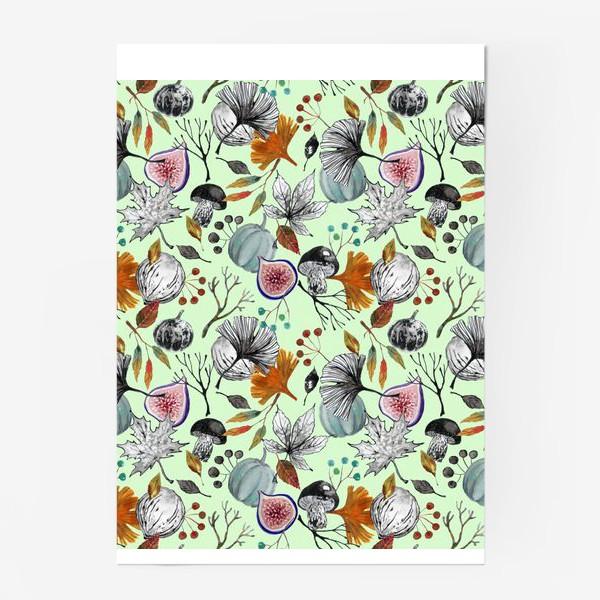 Постер «Тыквы, инжир и осенние листья. Тушь и акварель.»
